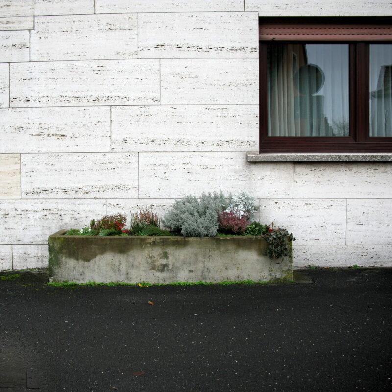 Pflanzentrog vor plattenverkleideter Hausfassade (Markt Erlbach)